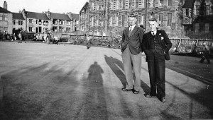 James McNab (right) on the green in front of Parson Green Primary School (before it burnt down).